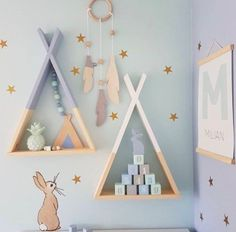 Home Fashion Decor Wooden Triangle Wall Shelf Racks Children Kids Room Macaron Color Storage Props - Ferien Ideen Baby Bedroom, Baby Room Decor, Nursery Room, Girl Room, Kids Bedroom, Nursery Decor, Bedroom Decor, Child Room, Wall Shelf Rack