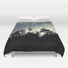 Wintery mystical landscape Duvet Cover Trees on a huge rock on a dark snowy day. Real landscape with added snow.  Silhouettes, photography, digital art, rock, tree, snow, snowflakes, dark, neo-mystical,  vignette, nature, landscape