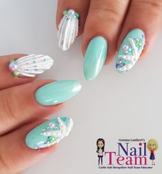 Light blue nail art - Nail Art - Best Nail World Ocean Blue Nails, Light Blue Nails, Beach Nail Art, Beach Nails, Ocean Nail Art, Seashell Nails, Food Nail Art, Mermaid Nail Art, Watermelon Nails