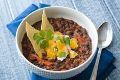 Gluten free Spicy Citrus Black Bean Soup by Simply Gluten-Free.