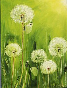 Купить Картина маслом Одуванчики - картина в подарок, картина для интерьера, яркая картина, картина в гостиную