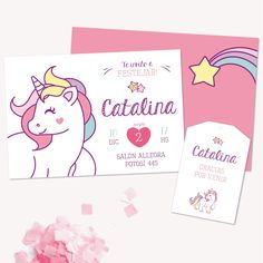 Invitación Unicornio para imprimir en www.cumplekits.com Party In A Box, Party Kit, Unicorn Birthday Parties, Baby Birthday, Aaliyah Birthday, Party Mottos, Little Pony Party, Fiesta Party, Rainbow Unicorn