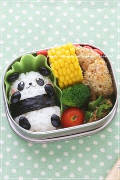 Healthy lunch for the little one- panda onigiri bento