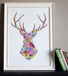 Trendy Antlered Home Decor buck deer antler silhouette stencil