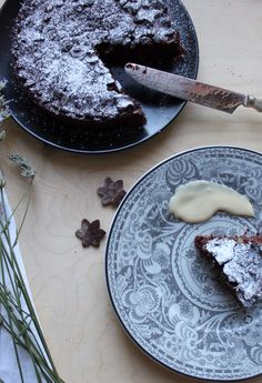 Cocoa crostata with pear lavander and chocolate filling