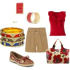 Red for the Day <3Sperry's & Brighton Tote