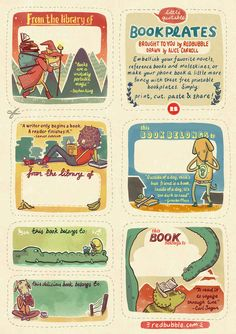 Mark your (book) territory with these adorable, free printable bookplates by Alice Carroll for Redbubble.