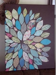 "paper scraps flower wall art...great idea to use pieces of little ones clothes= ""memory art"""