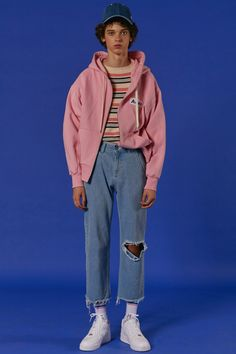 ADER styling Pink Basic zip-up hoodie #ader #adererror #styling #wit #denim…