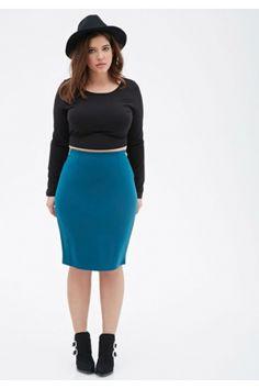 Vestidos y faldas de mujer - Forever 21 Stretch-Knit Pencil Skirt