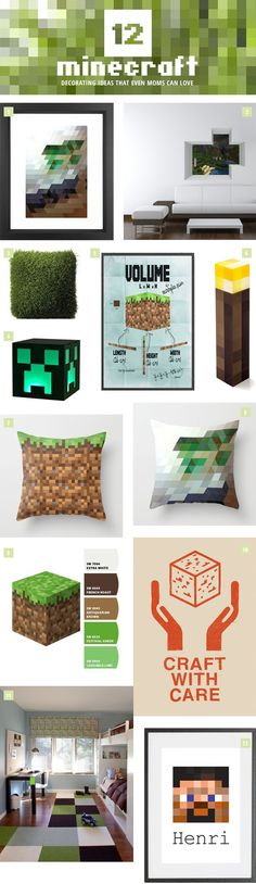 12 Stylish Minecraft Decorating Ideas 12 Minecraft Decorating Ideas that Even Moms Can Love. Get design, product and resource ideas for creating a Minecraft-themed look in your little gamer's room. Crafts For Boys, Diy Crafts, Minecraft Room, Minecraft Stuff, Minecraft Crafts, Minecraft Cake, Minecraft Party, Minecraft Furniture, Minecraft Skins