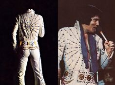 LESS STONES, STILL FANTASTIC! The BLUE TARGET jumpsuit has a little less stones and studs than the ORANGE version of the suit, but still looks gorgeous! Notice the wonderful craftsmanship on the back and the beautiful COINS Belt! The jumpsuit had a matching blue lined cape but THE KING wore it only in August-September 1973.