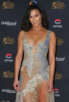 Busting out: Paula Patton, wore a barely there dress with a plunging neckline and a semi sheer skirt slit to the hip at the Golden Screen Awards in LA on Thursday night Paula Patton Bikini, Poses For Photos, Bikini Pictures, Beautiful Black Women, Hollywood Actresses, Bikini Girls, Sexy Women, Celebs, Olga Kurylenko