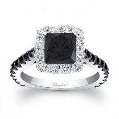 Tres elegante.   Barkev's Black Diamond Princess Cut Ring.