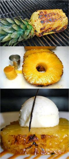 Grilled Pineapple with Vanilla Bean Ice Cream...sooo smart to grill the whole pineapple. - Plan Provision