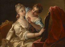 Jeune femme et sa suivante devant un miroir, French School, 18th Century
