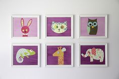 Modge Podge Critters. Canvases, scrapbook paper, & modge podge. So easy and cute! Pattern for animals @ http://www.scribd.com/doc/42076058/Animals