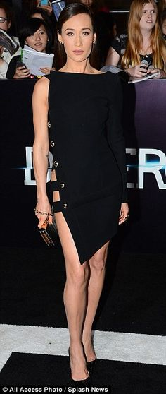 Best dressed @ Divergent premiere | Maggie Q in an Anthony Vaccarello LBD with cut-outs and stud detailing styled with black Christian Louboutin pumps and a gold clutch