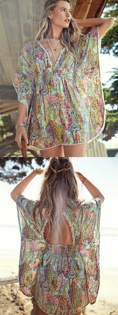 nice Love this gorgeous swim cover up dress rstyle. Swimwear Cover Ups, Swimsuit Cover Ups, Swim Cover Up Dress, Bohemian Mode, Summer Dress Outfits, Estilo Boho, Beach Dresses, Mode Style, Summer Wear