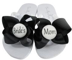 898871e1a4a02 Black   White Bow Bride s Mom Wedding Flip Flop Sandals-choose colors   size