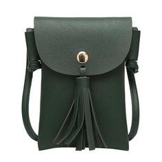 Women s Small Phone Crossbody PU Leather Style Shoulder Bag With Large  Tassel  45d05baf1201c