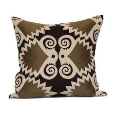 Brown/Mushroom FlorenceDesign Embroidered on LinenDown Filled Pillow
