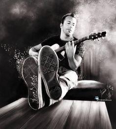 The musician.  Pieza para la colección de retratos en blanco y negro.