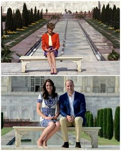 Princess Diana posed for a photo at the bench in front of Taj Mahal 24 years ago. Prince William and his wife Catherine posing for a photo at the same bench!!