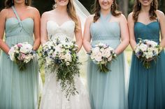 When all of the bridesmaids are wearing a different color or style dress as a florist we recommend having all of the bridesmaids bouquets coordinating. This way even though your girls look different the flowers tie them all back together.  Dumas Wedding - The McClemore Plantation + Becky's Brides Photography: Allison Lewis Photography
