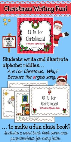Here's a fun and easy Christmas alphabet book to make with your class!  This is a fun class project from start to finish, as children write and illustrate pages for every letter of the alphabet.  The riddle format makes it easy to write, and it's even more fun to read!  Enjoy!