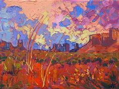 Dramatic sky over Monument Valley, painted in vivid oils by artist Erin Hanson