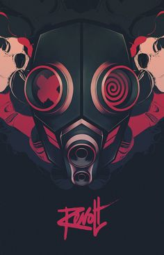 Revolt Series by Thomas Rohlfs, via Behance Gas mask bloodlocs idea COL concept Art And Illustration, Illustrations And Posters, Gas Mask Art, Masks Art, Gas Masks, Arte Hip Hop, Art Reference, Vector Art, Graphic Art