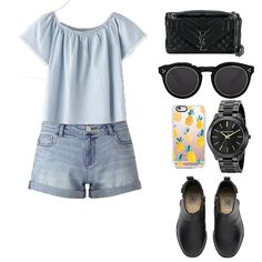 Look # 22-Denim Shorts-Boots-Sunglasses-Leather Bag Tote-Tshirt-Watch