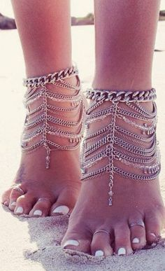 Layered Chain Anklets ❤︎                                                                                                                                                                                 More #bodyJewelry