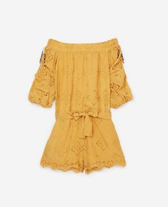 Combishort jaune broderie anglaise -  FEMME