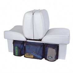 Use the Boatmates Boat Seat Organizer to stow small deck items such as CDs, magazines, and hand-held radios. Zippers make it easy to open/close. Ski Boats, Motor Boats, Boat Organization, Yacht Builders, Boat Insurance, Boat Seats, Boat Seat Covers, Boat Storage, Build Your Own Boat