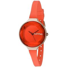 RumbaTime Women's 'Orchard Gem Mini Coral' Japanese Metal and Silicone... ($50) ❤ liked on Polyvore featuring jewelry, watches, water resistant watches, metal strap watches, silicone strap watches, silicone watches and orange watches