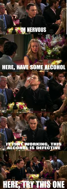 my first experience with drinking went. big bang theory, alcohol always works. at least temporarily anywaybig bang theory, alcohol always works. at least temporarily anyway The Big Theory, Big Bang Theory Funny, Tv Quotes, Movie Quotes, Funny Quotes, Funny Memes, Memes Humor, The Big Bang Therory, Haha