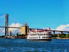 Cruising under Talmadge Bridge, Savannah, GA