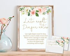 Late Night Diapers Notes Sign + Cards, Diaper Thoughts Sign, Printable Editable Template, Dusty Blush Rose Floral, Gold Calligraphy Fun Baby Shower Games, Baby Shower Signs, Late Night Diapers, Gold Calligraphy, Blush Roses, Late Nights, Watercolor Flowers, More Fun, Make It Yourself