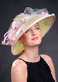 Lime green wide brim Kentucky Derby Royal Ascot by MargeIilane