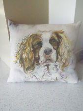 "Voyage Maison fabric cushion "" Henry"" Springer spaniel/  dog 38cm x 43cm"