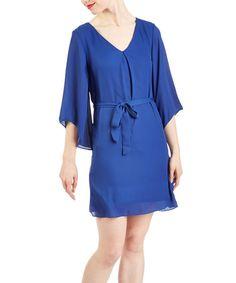 Look at this #zulilyfind! Royal Blue Tie-Waist V-Neck Dress #zulilyfinds