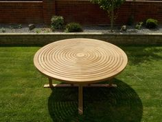 Teak swirl table with lazy Susan built in center looks great. Sanded many times this teak swirl table nestles a perfect smooth finish. It is ideal for outdoor and indoor. Teak Garden Furniture, Large Furniture, Furniture Outlet, Home Furniture, Outdoor Furniture, Outdoor Decor, Round Garden Table, Folding Picnic Table, Corner Sofa Set