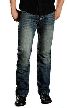 Rock & Roll Cowboy® Medium Stonewash Stitched V Pocket Pistol Slim Fit Boot Cut Jeans MOP674343