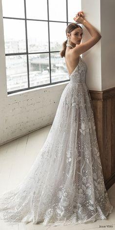 julie vino 2019 romanzo bridal sleeveless halter jewel neck full embellishment romantic a line wedding dress open back sweep train (4) bv -- Romanzo by Julie Vino 2019 Wedding Dresses