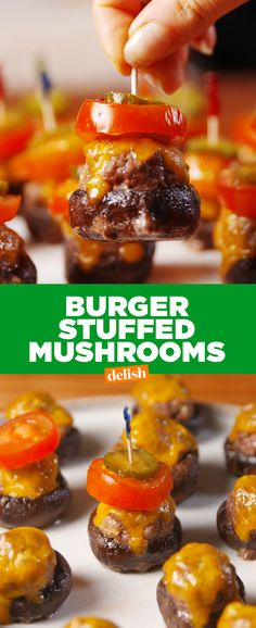 Burger Stuffed Mushrooms are the party app your guests will never forget. Get the recipe from Delish.com.