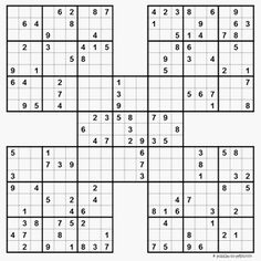 A small collection of free, printable samurai sudoku.  With their huge grids, just one of these puzzles can give you hours of enjoyment.