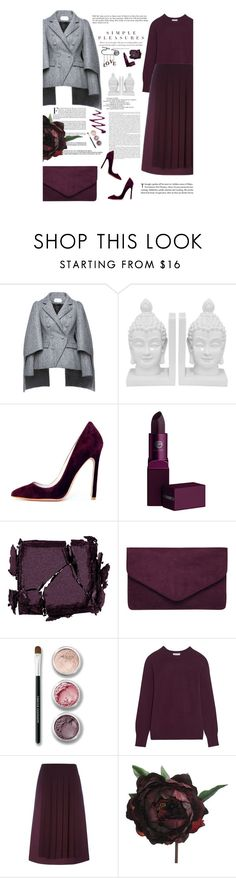 """""""Plum & Grey"""" by amimcqueen ❤ liked on Polyvore featuring Dice Kayek, Three Hands, Lipstick Queen, Surratt, Bare Escentuals, Equipment, Fendi and Abigail Ahern"""