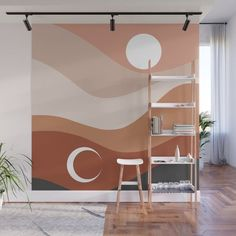 Moon and Sun Season Wall Mural by cafelab Bedroom Wall, Bedroom Decor, Wall Decor, Entryway Decor, Wall Design, House Design, Diy Wall Painting, Home Decor Inspiration, Wall Paint Inspiration